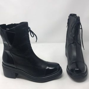 Robert Clergerie Black Leather Combat Boots